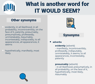 it would seem, synonym it would seem, another word for it would seem, words like it would seem, thesaurus it would seem