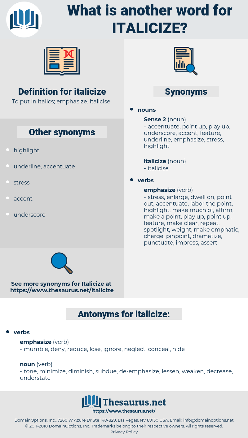 italicize, synonym italicize, another word for italicize, words like italicize, thesaurus italicize