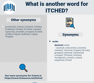 Itched, synonym Itched, another word for Itched, words like Itched, thesaurus Itched