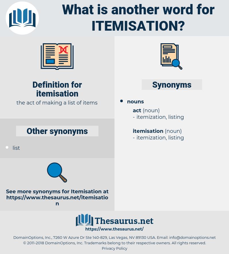 itemisation, synonym itemisation, another word for itemisation, words like itemisation, thesaurus itemisation