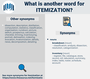 itemization, synonym itemization, another word for itemization, words like itemization, thesaurus itemization