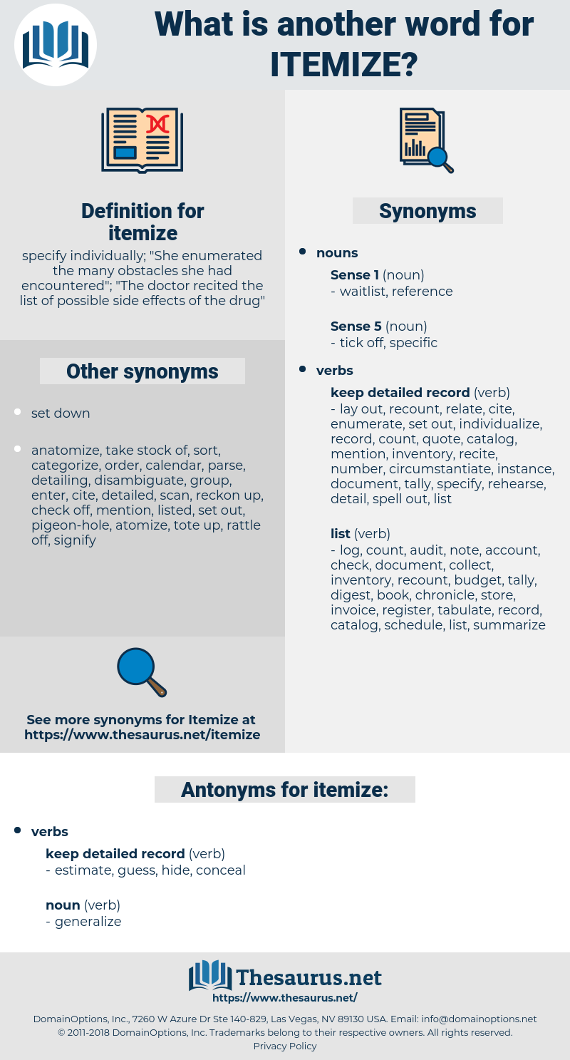 itemize, synonym itemize, another word for itemize, words like itemize, thesaurus itemize