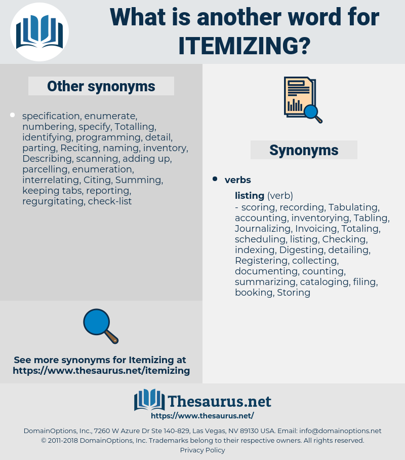 itemizing, synonym itemizing, another word for itemizing, words like itemizing, thesaurus itemizing