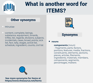 items, synonym items, another word for items, words like items, thesaurus items