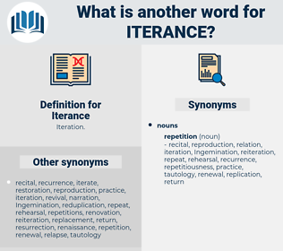 Iterance, synonym Iterance, another word for Iterance, words like Iterance, thesaurus Iterance