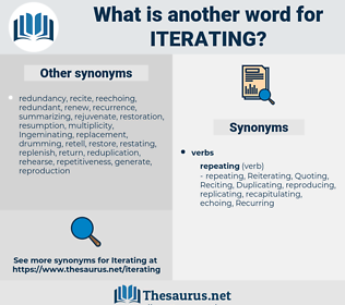 Iterating, synonym Iterating, another word for Iterating, words like Iterating, thesaurus Iterating