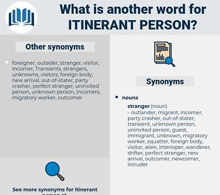 itinerant person, synonym itinerant person, another word for itinerant person, words like itinerant person, thesaurus itinerant person