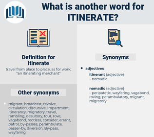 itinerate, synonym itinerate, another word for itinerate, words like itinerate, thesaurus itinerate