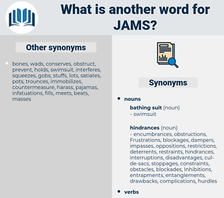 jams, synonym jams, another word for jams, words like jams, thesaurus jams