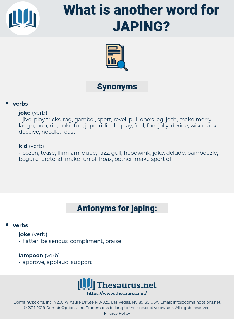 japing, synonym japing, another word for japing, words like japing, thesaurus japing