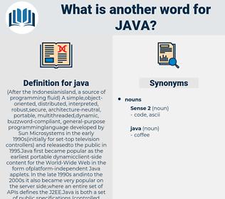 java, synonym java, another word for java, words like java, thesaurus java