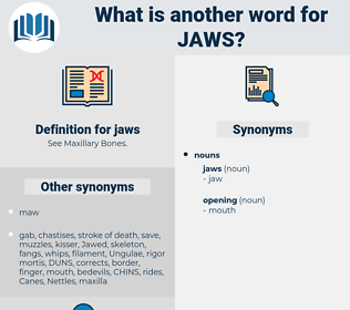 jaws, synonym jaws, another word for jaws, words like jaws, thesaurus jaws
