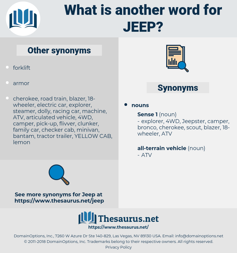 jeep, synonym jeep, another word for jeep, words like jeep, thesaurus jeep