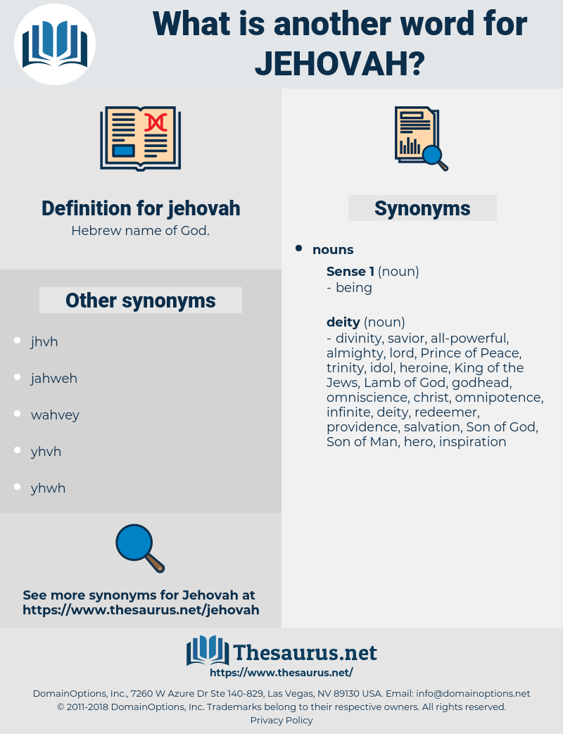 Synonyms for JEHOVAH - Thesaurus net