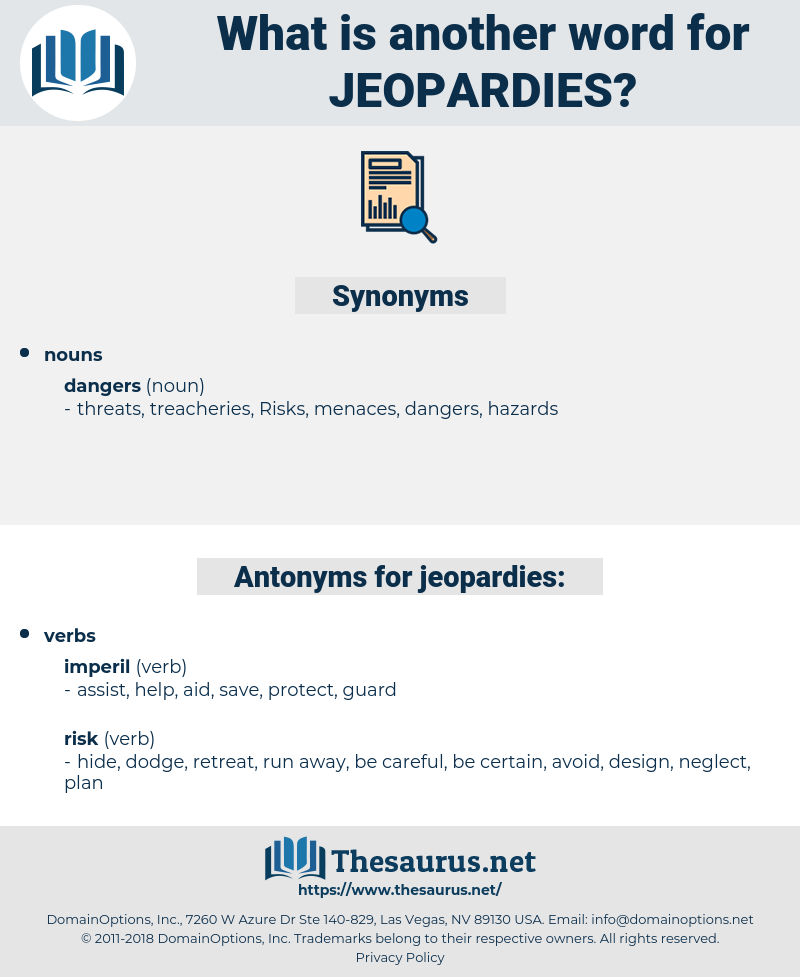 jeopardies, synonym jeopardies, another word for jeopardies, words like jeopardies, thesaurus jeopardies
