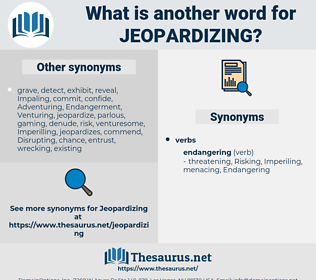 Jeopardizing, synonym Jeopardizing, another word for Jeopardizing, words like Jeopardizing, thesaurus Jeopardizing