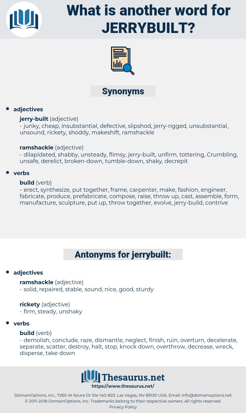 jerrybuilt, synonym jerrybuilt, another word for jerrybuilt, words like jerrybuilt, thesaurus jerrybuilt