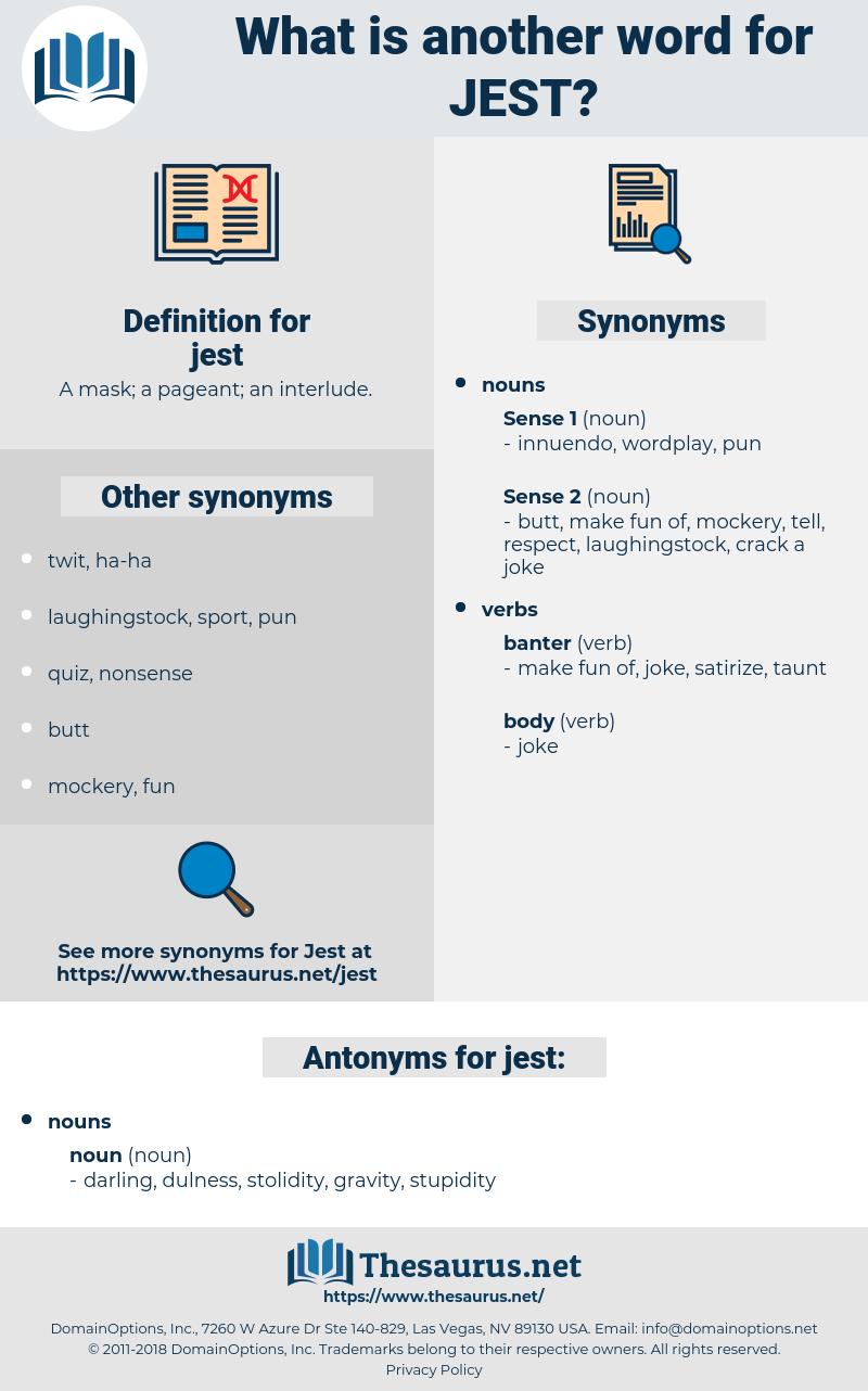 jest, synonym jest, another word for jest, words like jest, thesaurus jest