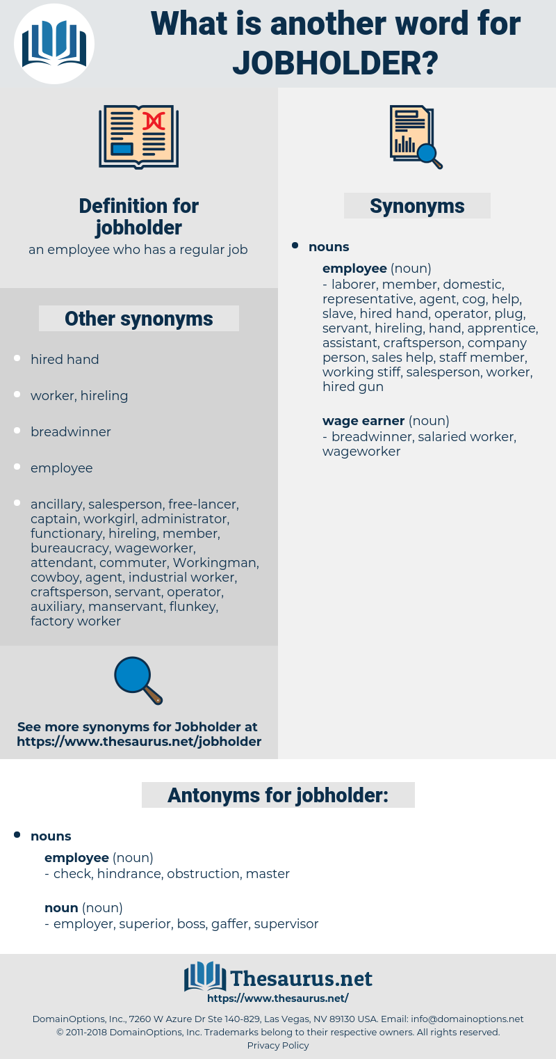 jobholder, synonym jobholder, another word for jobholder, words like jobholder, thesaurus jobholder