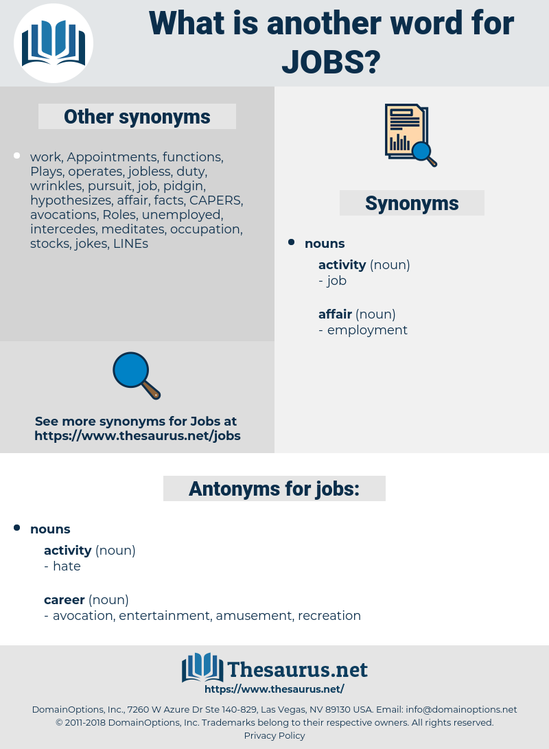 jobs, synonym jobs, another word for jobs, words like jobs, thesaurus jobs