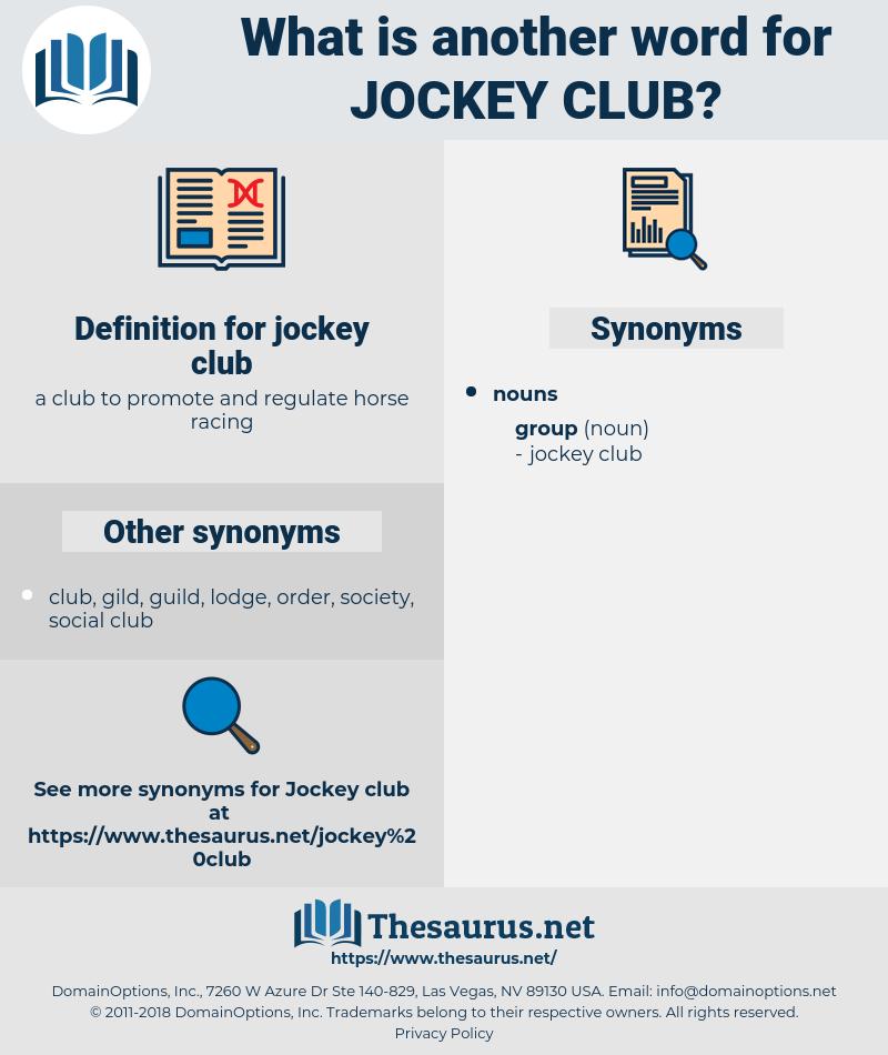 jockey club, synonym jockey club, another word for jockey club, words like jockey club, thesaurus jockey club
