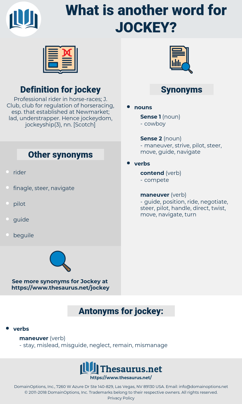 jockey, synonym jockey, another word for jockey, words like jockey, thesaurus jockey