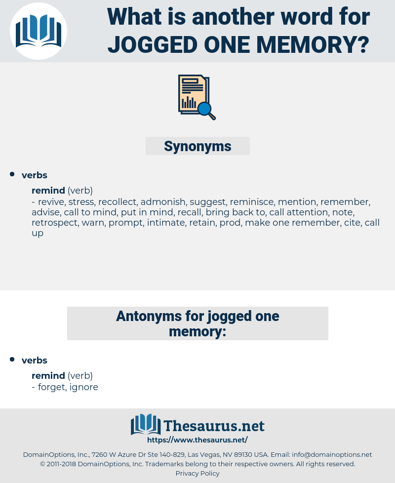 jogged one memory, synonym jogged one memory, another word for jogged one memory, words like jogged one memory, thesaurus jogged one memory