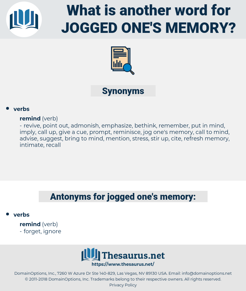 jogged one's memory, synonym jogged one's memory, another word for jogged one's memory, words like jogged one's memory, thesaurus jogged one's memory