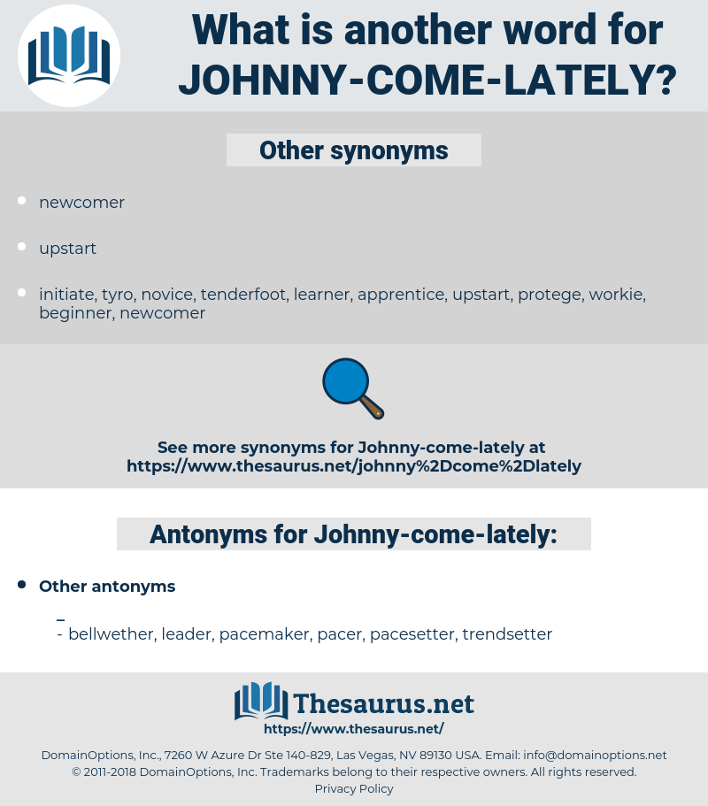 Johnny-come-lately, synonym Johnny-come-lately, another word for Johnny-come-lately, words like Johnny-come-lately, thesaurus Johnny-come-lately