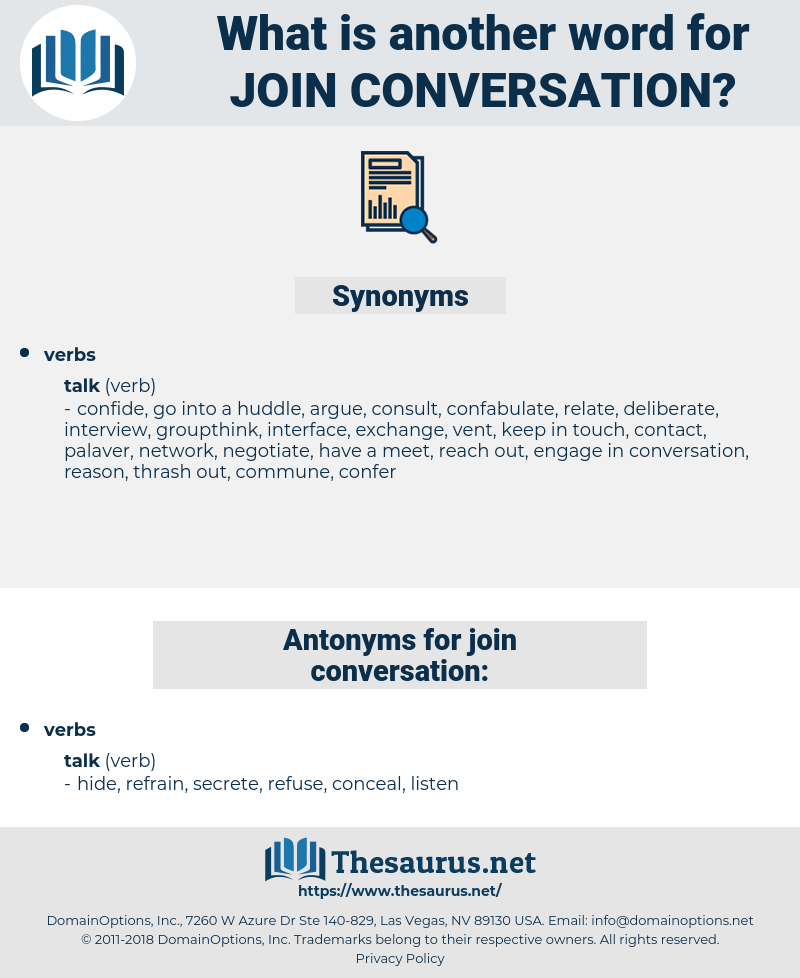 join conversation, synonym join conversation, another word for join conversation, words like join conversation, thesaurus join conversation