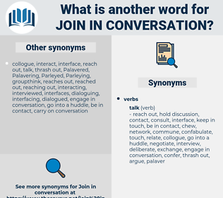 join in conversation, synonym join in conversation, another word for join in conversation, words like join in conversation, thesaurus join in conversation