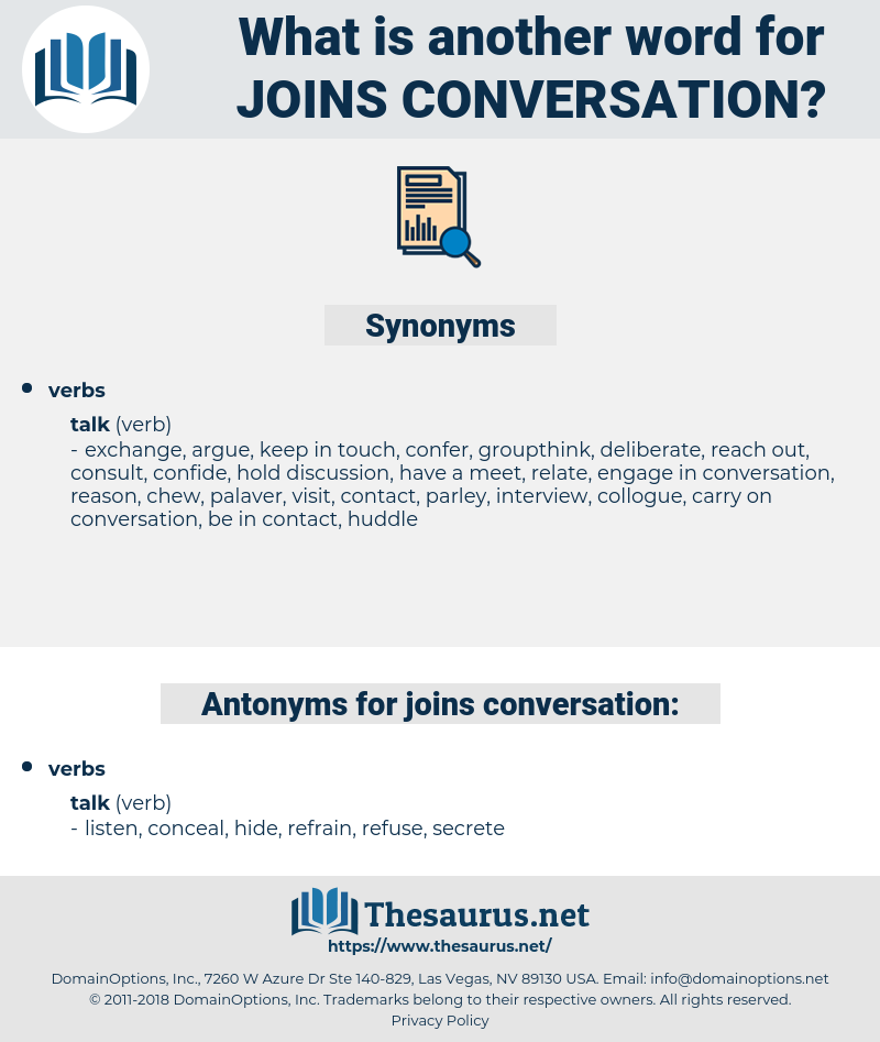 joins conversation, synonym joins conversation, another word for joins conversation, words like joins conversation, thesaurus joins conversation