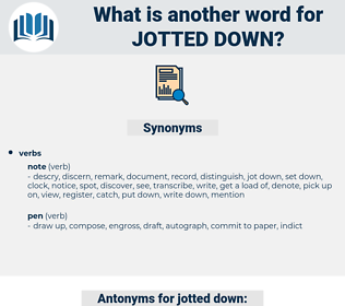 jotted down, synonym jotted down, another word for jotted down, words like jotted down, thesaurus jotted down