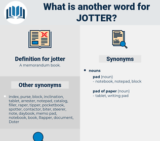 jotter, synonym jotter, another word for jotter, words like jotter, thesaurus jotter