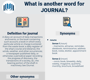 journal, synonym journal, another word for journal, words like journal, thesaurus journal