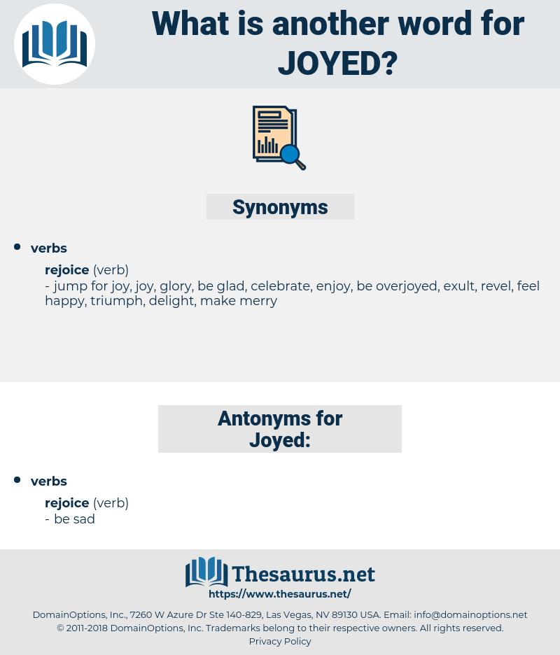 Joyed, synonym Joyed, another word for Joyed, words like Joyed, thesaurus Joyed