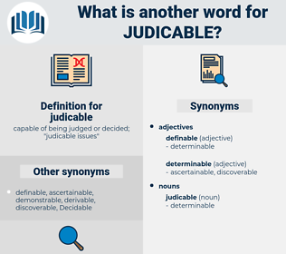 judicable, synonym judicable, another word for judicable, words like judicable, thesaurus judicable