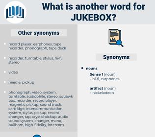 jukebox, synonym jukebox, another word for jukebox, words like jukebox, thesaurus jukebox