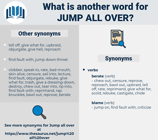 jump all over, synonym jump all over, another word for jump all over, words like jump all over, thesaurus jump all over