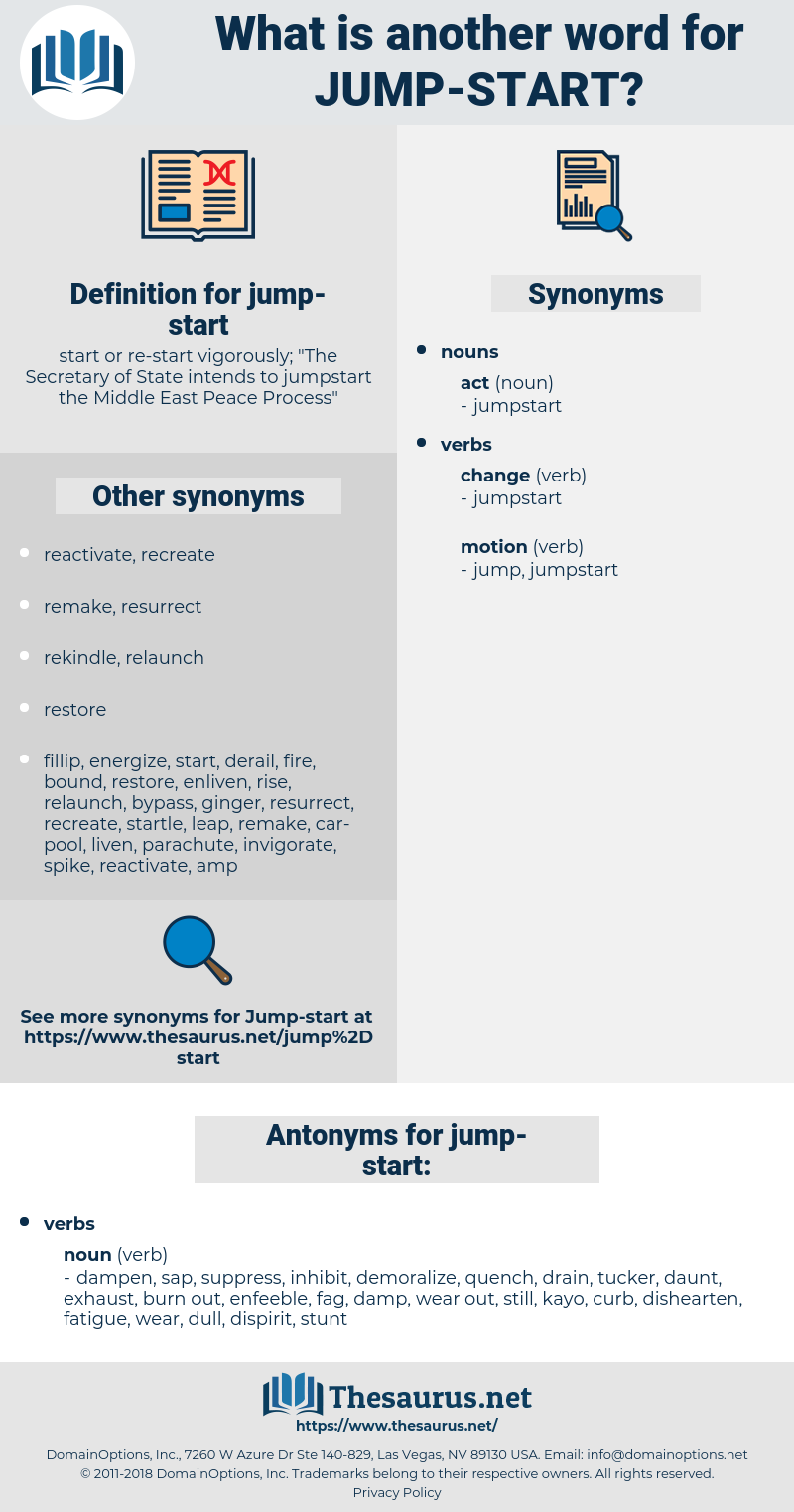 jump-start, synonym jump-start, another word for jump-start, words like jump-start, thesaurus jump-start