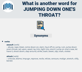jumping down one's throat, synonym jumping down one's throat, another word for jumping down one's throat, words like jumping down one's throat, thesaurus jumping down one's throat