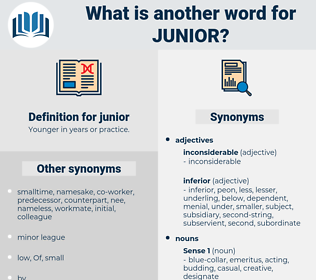 junior, synonym junior, another word for junior, words like junior, thesaurus junior
