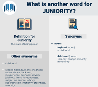 Juniority, synonym Juniority, another word for Juniority, words like Juniority, thesaurus Juniority