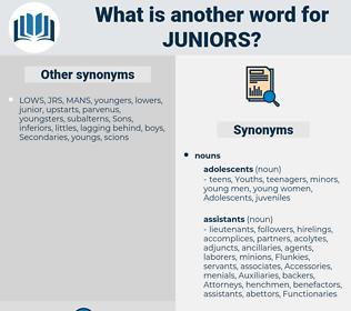 juniors, synonym juniors, another word for juniors, words like juniors, thesaurus juniors