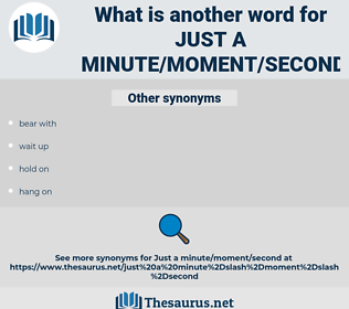 just a minute/moment/second, synonym just a minute/moment/second, another word for just a minute/moment/second, words like just a minute/moment/second, thesaurus just a minute/moment/second