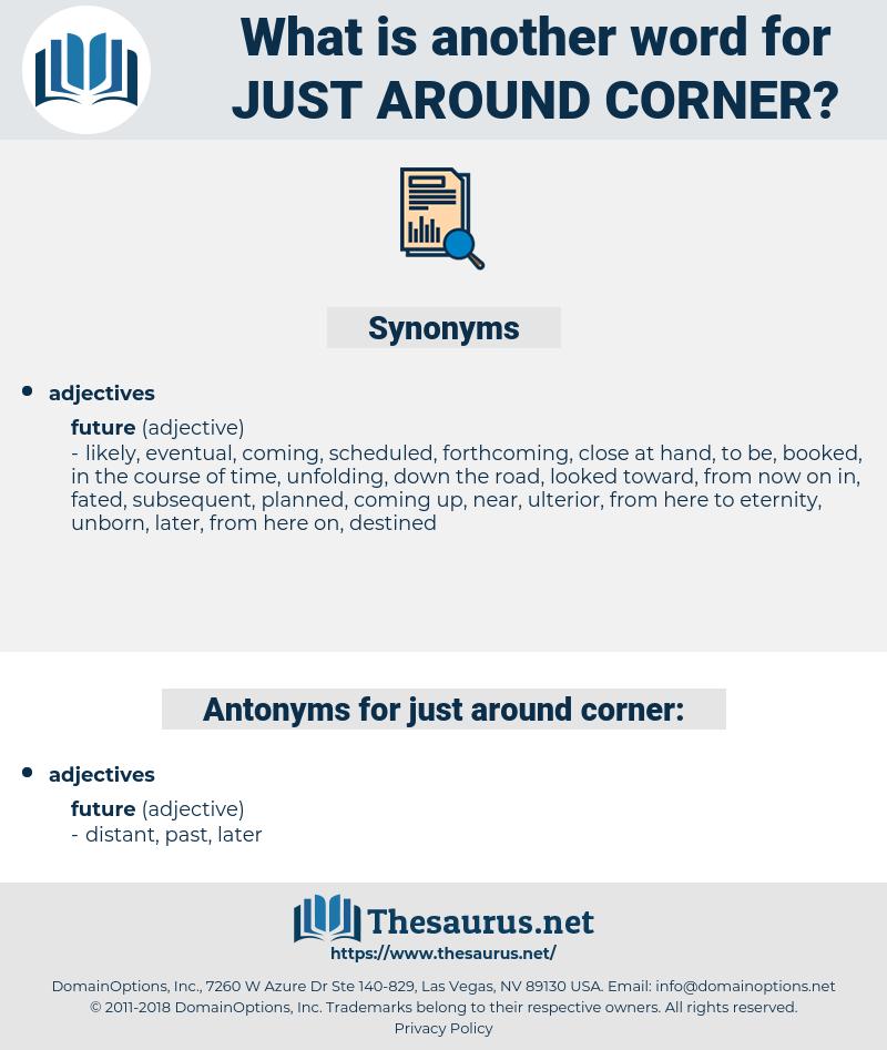 just around corner, synonym just around corner, another word for just around corner, words like just around corner, thesaurus just around corner