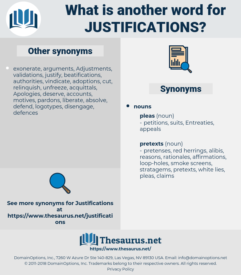 justifications, synonym justifications, another word for justifications, words like justifications, thesaurus justifications