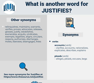 justifies, synonym justifies, another word for justifies, words like justifies, thesaurus justifies
