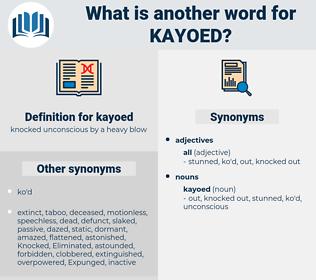 kayoed, synonym kayoed, another word for kayoed, words like kayoed, thesaurus kayoed
