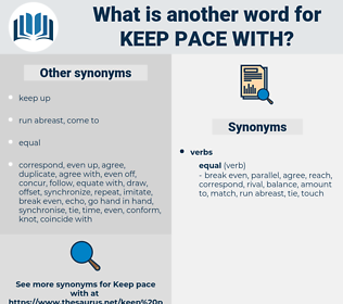 keep pace with, synonym keep pace with, another word for keep pace with, words like keep pace with, thesaurus keep pace with